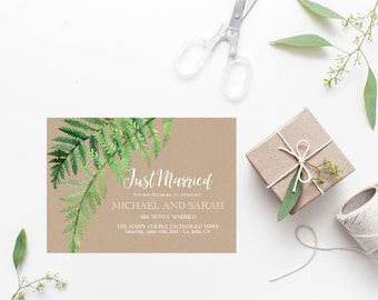 Greenery Just Married Announcement Printable Kraft We Eloped Elopement Announcement We Tied The Knot We've Married Fern Leaves Botanical