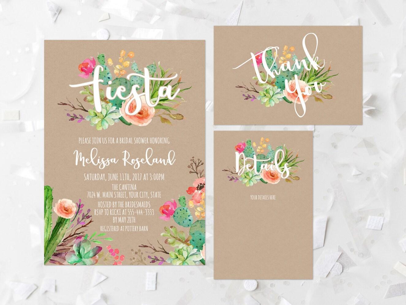 Wedding Shower Invitation: Fiesta Bridal Shower Invitation Printable Succulent Bridal