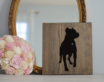 Hand Painted Cropped Ear Pitbull Silhouette on Stained Wood, Dog Decor, Dog Painting, Gift for Dog People, New Puppy Gift