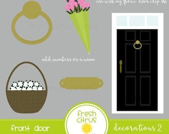 Front Door Decorations Clip Art Door Knocker, Flowers in Door Basket, Tulips in Umbrella, Brass Name Number Plate Clip Art
