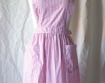 Vintage Candy Striper 50s 60s Apron Dress Uniform / XS S / Cotton Bib Front Jumper