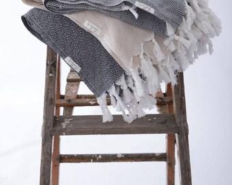 Traveler Blanket | Diamond Pattern Throw Cotton Blanket Black Gray Beige Picnic Throw Blanket Yoga Picnic Beach Accessories Beach Mat  Yoga