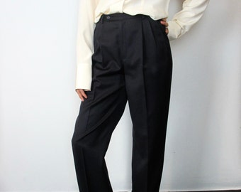 Navy pleated pants / 6 / Small / high waisted dark blue tapered career simple minimal preppy vintage 90s 100% wool lined suit trousers