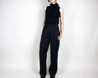 Navy high-waisted pants / S / size 4 - 6 / Brooks Brothers high rise pleated cuffed relaxed fit 90s vintage suit slacks trousers career wool