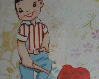 Little Boy Cutting Logs - Valentine, I Hope We Never Split Up
