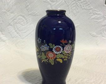 """Cobalt Blue Porcelain Vase, Floral Cobalt Blue Vase, Gold Trim, 5"""" Tall, MCI Vase, Japanese Porcelain Vase, Japan, Mini Vase, 1970s vase"""