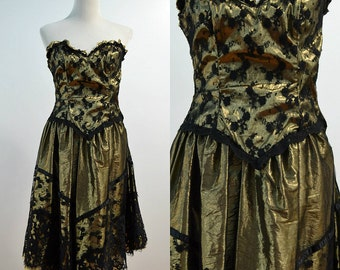 80s Gold Lame Strapless Dress / 1980s Vintage Black Lace Gold Prom Dress / vtg Party Dress / Formal Dress / XS X-Small Small S