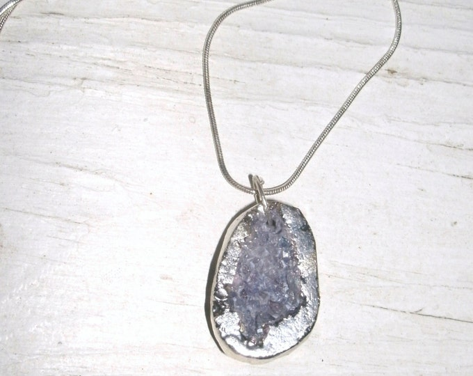 Electroplated Druzy Pendant necklace, silver electroplated, purple grey druzy center, oval, sterling silver chain, gift for her, stones