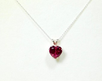 2.10ct  Red Ruby Heart Pendant & Chain