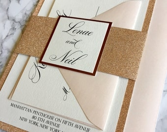 Rose Gold Foil And Glitter Wedding Invitation Blush And Rose