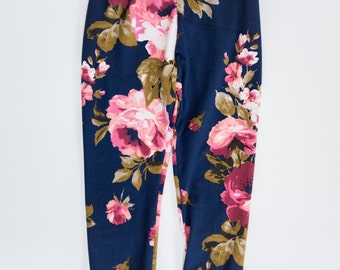 Floral baby leggings,navy blue pink flower cuffed leggings,yoga waist band, newborn legging,toddler legging,coming home outfit,buttery soft!