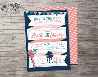 BBQ baby shower invitations, bun in the oven, bbq on the grill, co-ed baby shower invitation, coed BabyQ,  printable, summer barbecue