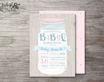 BBQ Gender Reveal invitation | gender reveal party | boy or girl | High Quality printable file | BabyQ mason jar summer invites pink or blue