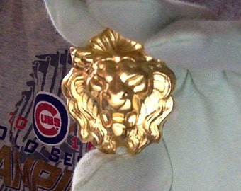 Pair of Medieval and Renaissance heraldic brass lion heads for 1:6 BJD doll decor, masks, and artwork