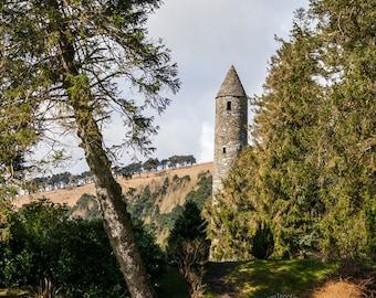 fairytale landscape, irish woods photography, nature artwork prints, stone tower, landscape ireland, tree artwork, fairy tale architecture