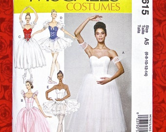 McCall's Sewing Pattern M7615 Ballet Dance Costumes, Boned Bodice, Tulle Skirt, Misses' Sizes 6 8 10 12 14, Classic Ballerina Fashion, UNCUT