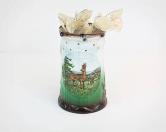 porcelain puzzle mug - made in west germany, ceramic mug, Barvarian, collectable pottery, deer stein, beer stein, stag and nature cup