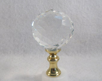 Lamp Finial:  Faceted Crystal Ball,  Clear Classic Design.  Vintage Glass, New Brass.  Lamp Shade Finial (Y10)