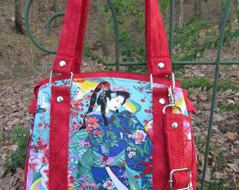 "Ready to Ship--The ""Snowdrop"" SMALL Handbag/Purse-Featuring Coordinating Geisha print Fabrics"