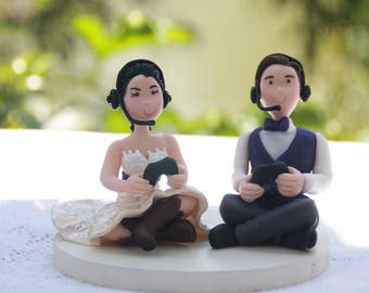 Gamer couple - XBOX players. Handmade. Fully customizable. Small Wedding cake topper or centerpiece.