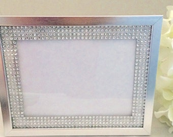 Picture frame, silver wedding glass picture frame, 5x7 silver frame, wedding decoration, rhinestone frame, table number frame