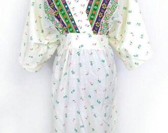 70s 80s Boho Dress, Vintage Floral Kimono Maxi Dress, Tag Size: Large