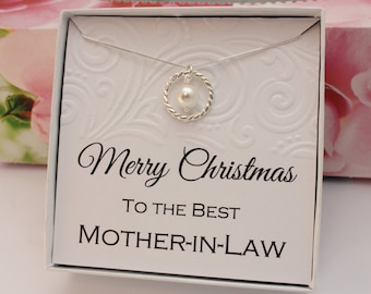 Gift for Mother in Law necklace sterling silver eternity necklace with Swarovski pearl in a gift box Christmas gifts for family