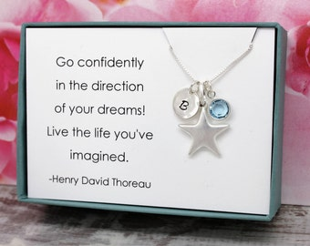 Graduation gift for graduate, sterling silver birthstone initial star necklace, birthday gifts for grads, inspirational gifts for grads