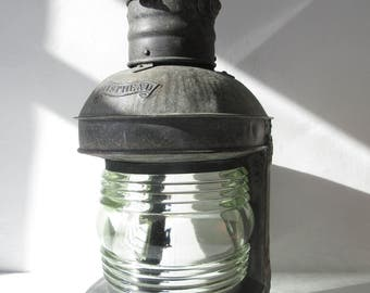 Awesome Salvaged Very Large Rustic Distressed Vintage Antique Masthead Maritime Nautical Ship Lantern A/F
