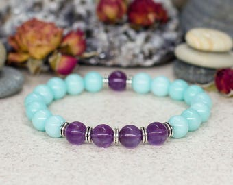 Gift-for-mom Purple amethyst bracelet Mint jewelry Amazonite bracelet Stretch bracelet Double sided bracelet Summer bracelet Fashion jewelry