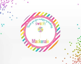 Candyland Lollipop Labels, Candy land Thank you Stickers, Candy land Birthday Party Tags, Rainbow, Various Sizes- Printable, Digital File