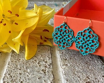 Turquoise Filigree Drop Earrings, gold wire earrings, turquoise jewelry, filigree jewelry, bridesmaid gift earrings, blue earrings turquoise