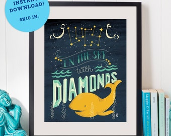 Lucy In The Sky With Diamonds, Wall Art Printable Instant Download PDF, Whale, The Beatles lyric, Boy Girl, Kids Room, Yellow, Navy, PH_03