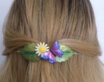 French barrette Daisy with Butterfly, Flower and Butterfly hair barrette, Women's hair barrette