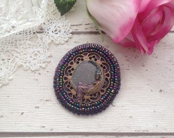 Angel brooch, crescent moon brooch,purple bead embroidered brooch, faerie gifts, fantasy jewellery, textile jewellery, mothers day gifts