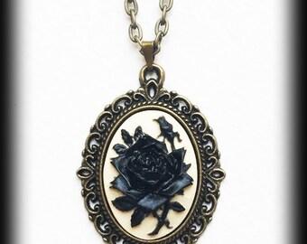 Black Rose Necklace, Gothic Victorian Cameo Pendant, Antique Bronze Frame, Gothic Valentine Gift, Romantic Jewelry, Handmade Jewellery