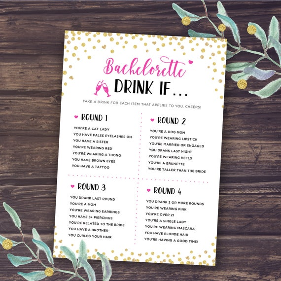 Bachelorette Party Games Drink If Game Printable