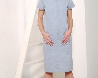 Women's shirt dress, light gray dress, shirt dress, gray dress, cotton dress, office dress, button down dress