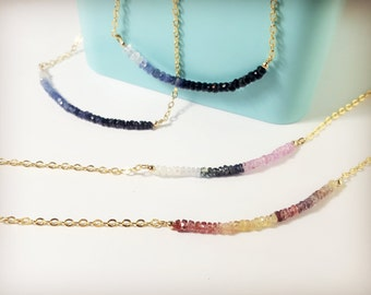 Sapphire Necklace, Ombre sapphire necklace, Rainbow sapphire, Dainty necklace, Stacking necklace, Gemstone necklace, September Birthstone