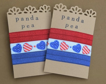 Patriotic American Elastic Hair Tie Favors Party Red, White, and Blue