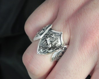 SLEIPNIR Ring Odin's Steed with Odin's Horn_Triple Odin's Horn_Silver Axes_Silver Handcrafted Vikings Ring
