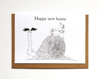 Happy New Home Snail Illustrated Greetings Card - New Home Note Card