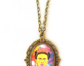 Frida Kahlo necklace, Glass dome necklace, Cameo necklace, Frida Kahlo jewellery, Colorful necklace, Frida Illustration