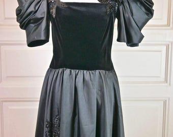 European Vintage Black Velvet and Satin Evening Dress, Vintage Gown, Sequin Ball Gown, Satin Evening Dress: Size 6 (US), Size 10 (UK)