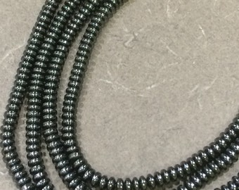 "Hematite 5mm Rondelle Stone Gun-Metal Tone FULL 16"" (two 8"") STRAND"