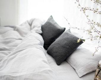 Linen Flat Sheet, stonewashed linen, softened linen bedding, bedsheet, bed sheet, light grey, organic bedding, eco friendly