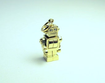 Solid 9K yellow gold microbot with gold vermeil chain