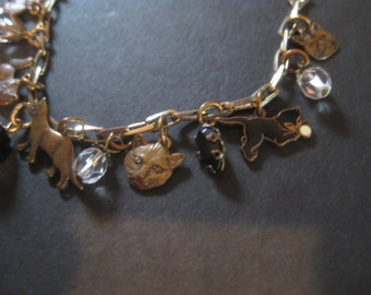 Brass Kitty Charm Bracelet Vintage