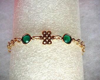 Gold Celtic Eternity Knot Bracelet, Swarovski Emerald Birthstone Jewelry, Sister Friendship Bracelet, Irish Jewelry Gold Birthstone Bracelet