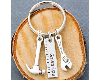Grandpa Gift Keychain Grandpa Birthday Gift for Him • Papa Guy Gift Ideas Auto Mechanic Gift Hammer Wrench Tools Construction